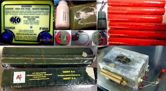 Algunos de los explosivos interceptados.