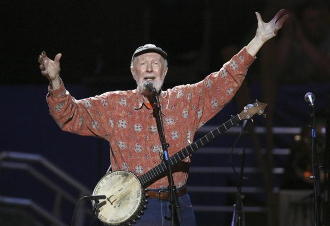 Pete Seeger, en la fiesta-concierto de su 90 cumpleaños, en Nueva...