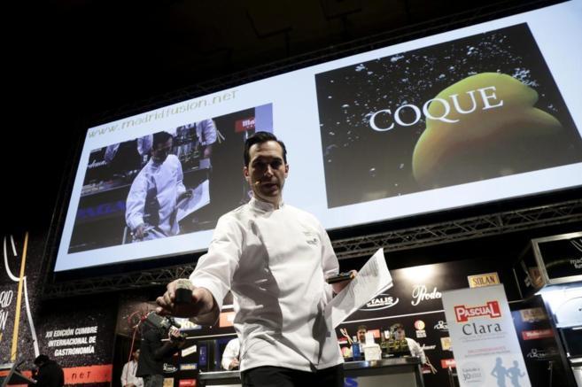 El chef Mario Sandoval, ayer, en la ponencia ofrecida en Madrid...