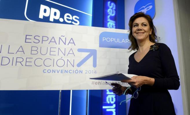 La secretaria general del PP, ayer en la sede del partido antes de una...