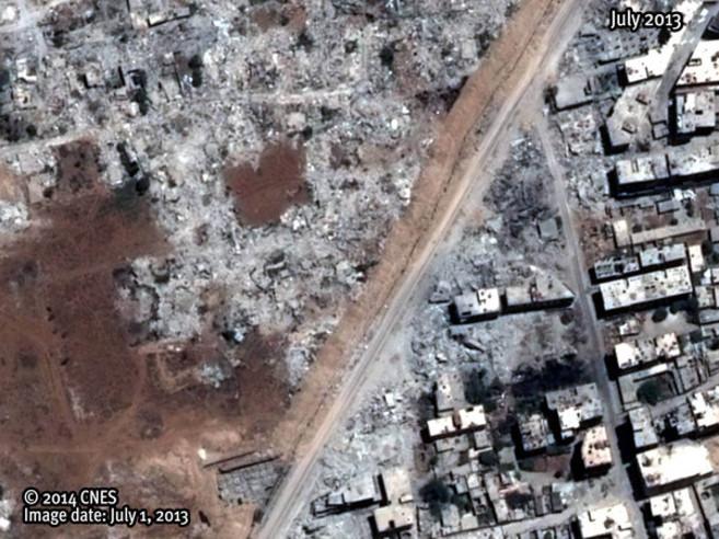 Imagen de satélite de una zona devastada en un suburbio de Damasco.