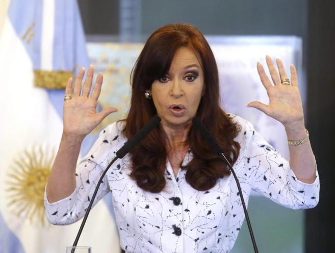 La presidenta argentina, Cristina Kirchner, durante un discurso en...