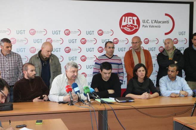 Rueda de prensa del comité de empresa de Coca-Cola en Alicante en la...