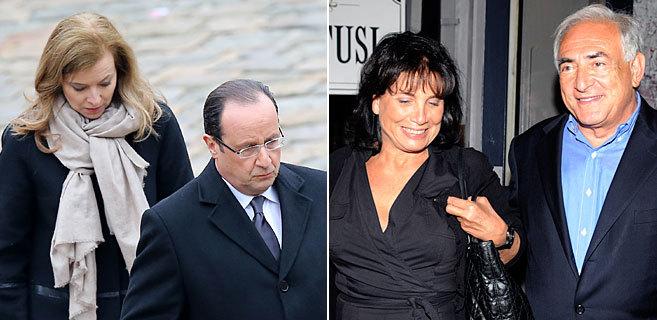 Hollande con Valérie Trierweiler y Sinclair con Straus-Kahn, en...