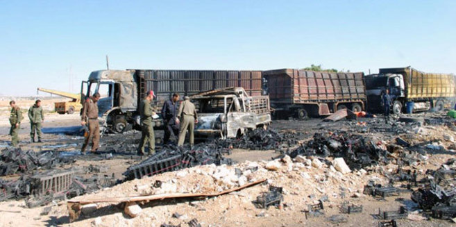 Destrozos ocasionados por un cambión-bomba en la ciudad Siria de Hama