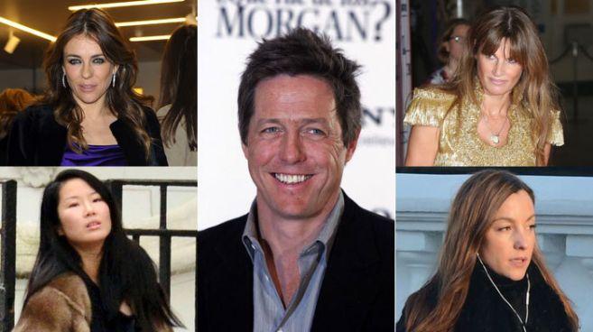 Las mujeres de Hugh (c): Elisabeth Hurley (novia), Jemima Khan...