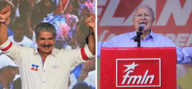 El candidato de ARENA, Norman Quijano, a la izda., y el izquierdista...