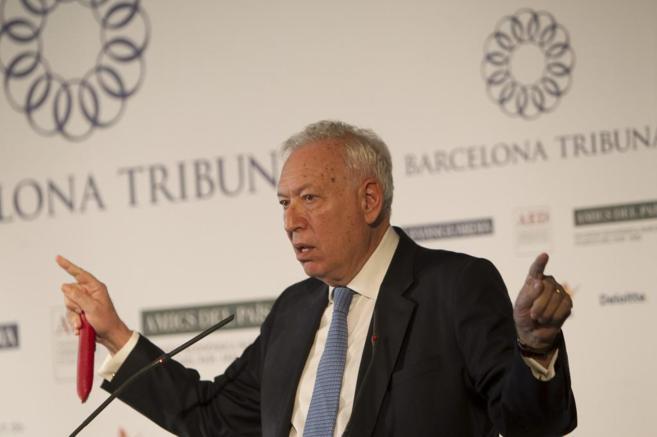El ministro de Exteriores durante una intervención en Barcelona.