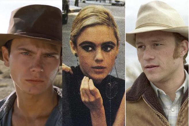 De izquierda a derecha, River Phoenix, Edie Sedgwick y Heath Ledger.