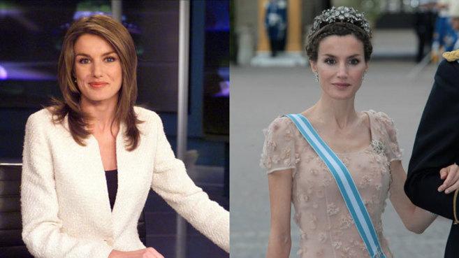 Doña Leticia, en una imagen de TVE como presentadora, y en la boda de...