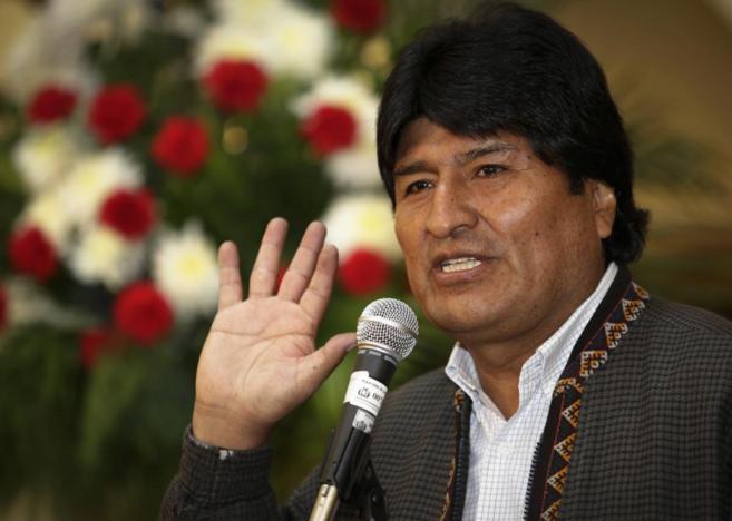 El presidente Evo Morales, durante una rueda de prensa en La Paz.
