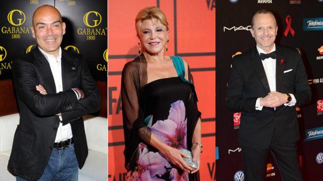 De izquierda a derecha, Kike Sarasola, Carmen Thyssen y Miguel Bosé,...