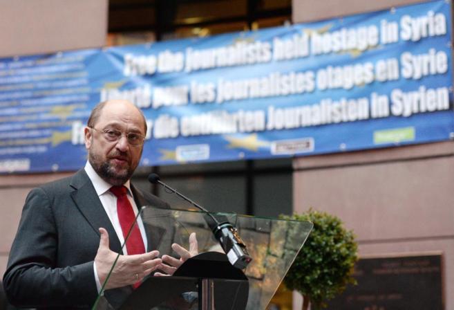 El presidente del Parlamento Europeo, Martin Schulz, en el acto en...
