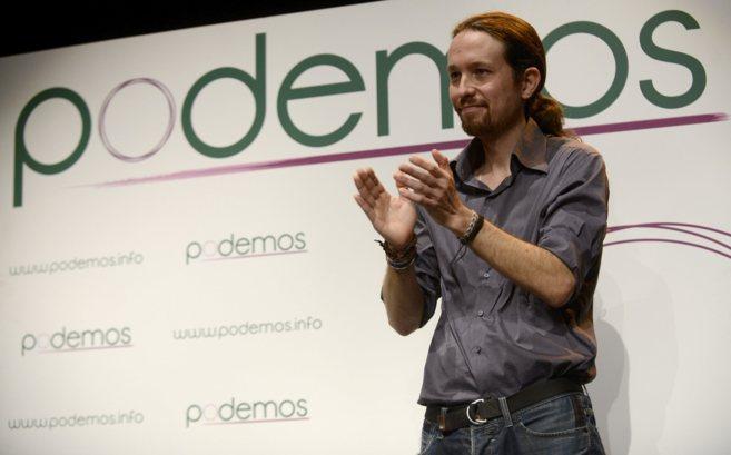 Pablo Iglesias durante un mitin de su partido, Podemos.