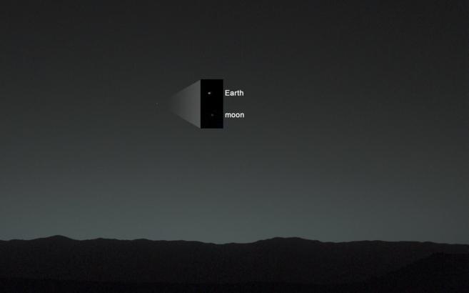 La Tierra y la Luna, captadas desde Marte por el Curiosity.