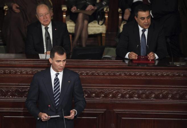 El Príncipe durante su intervención ante el Parlamento de Túnez.