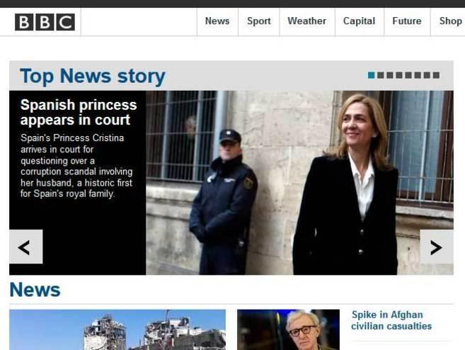 Portada de la edición digital de la BBC.