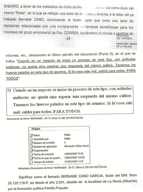 Fragmento del informe policial de la UDEF, que recoge el mensaje.