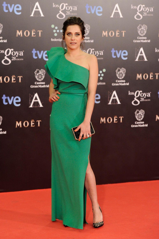 María León, también de verde. Su vestido lo firma Lanvin.