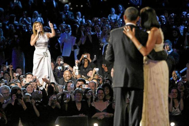 Beyoncé, en una de sus actuaciones para Barack y Michelle Obama en...