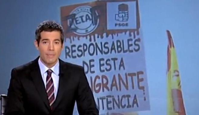 La imagen de la polémica: la pancarta en el Telediario de TVE.