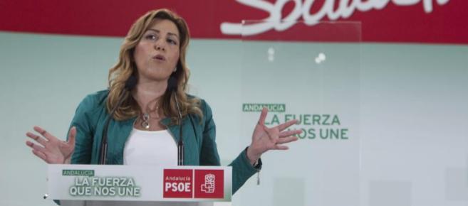 La presidenta de la Junta de Andalucía, Susana Díaz, durante la...