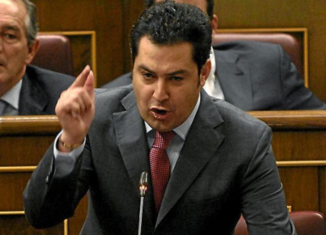 Juan Manuel Moreno Bonilla, durante una intervención en el Congreso...