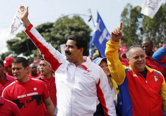 Nicolás Maduro junto a Diosdado Cabello durante un mitin en Caracas,