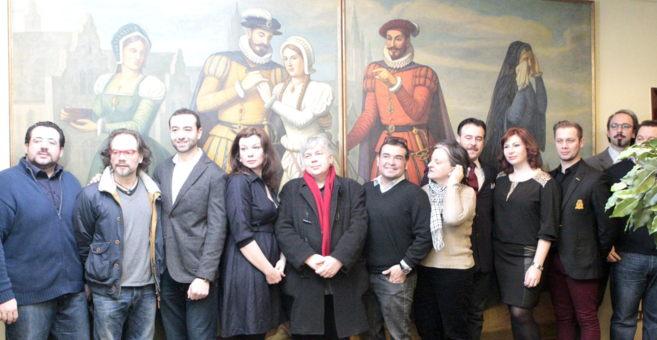 Elenco de la ópera 'Carmen', presentada hoy en Bilbao.