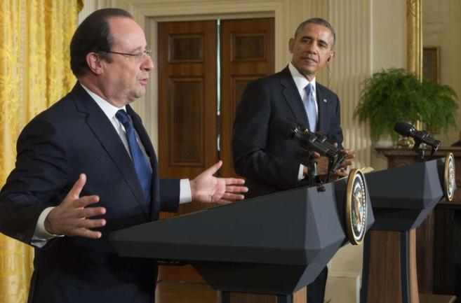 François Hollande y Barack Obama durante una rueda de prensa...