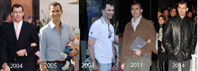 La evolución del estilo del príncipe Felipe, desde el año 2004...