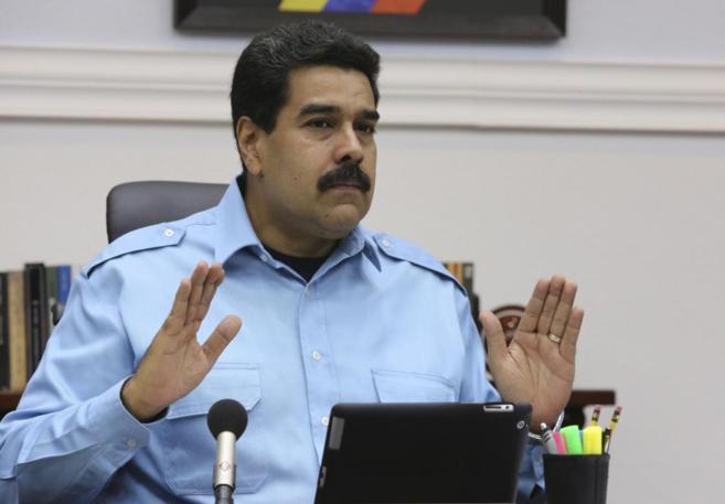 Maduro durante la reunión que ha mantenido con su cúpula militar en...