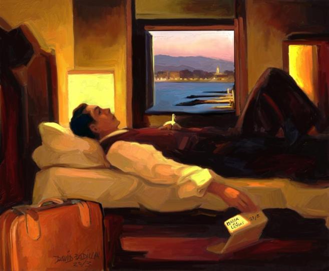 Pintura de David Padilla que muestra a un hombre tumbado en una cama.