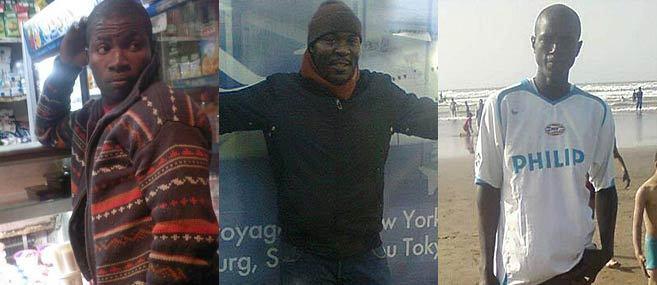 De izda. a dcha., Yves, Blaise e Ibrahim, tres de los inmigrantes...