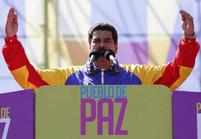 Maduro durante su discurso por la paz y contra el fascismo.