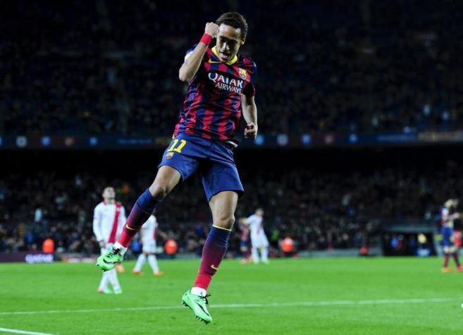 Neymar celebra su gol, el sexto de su equipo, ante el Rayo Vallecano.