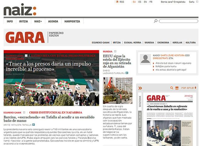 Portada de la edición digital de 'Gara'.