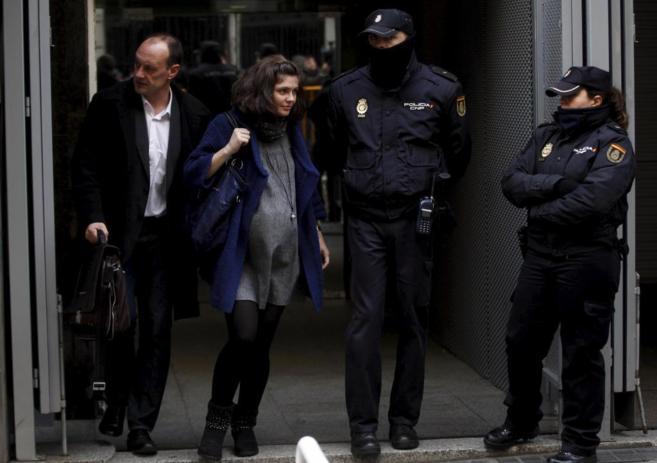 Naia Zuriarraian, el pasado 16 de enero, tras declarar en la Audiencia...