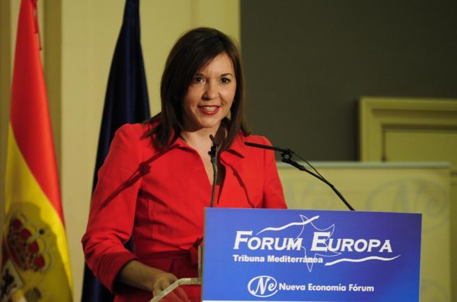 La alcaldesa de Elche, Mercedes Alonso, durante su intervención en...