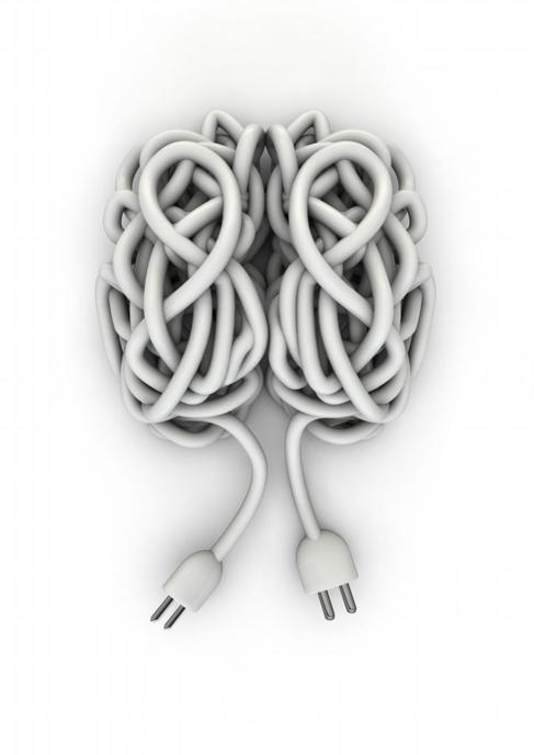 Dos madejas de cables dibujan un cerebro