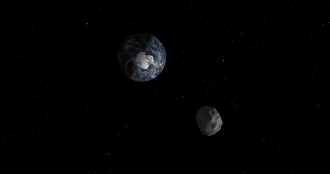 Recreación de un asteroide acercándose a la Tierra.