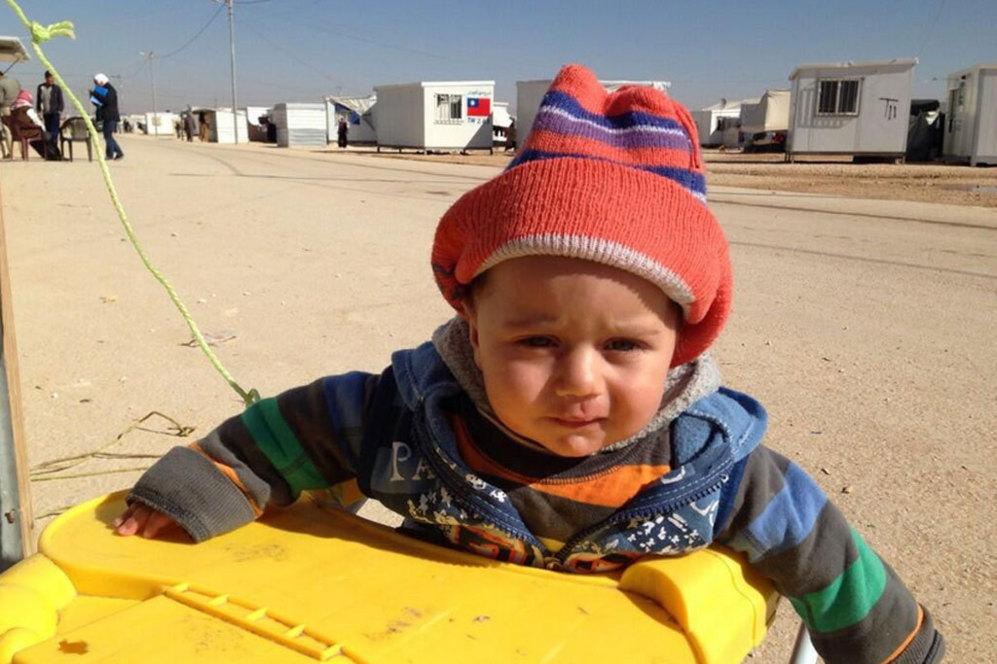 Ismail tiene ahora 6 meses. Nació en el campamento de refugiados de la frontera jordana. Su padre murió en la guerra de Siria.