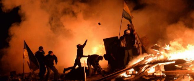 Imagen de la madrugada en el centro de Kiev.
