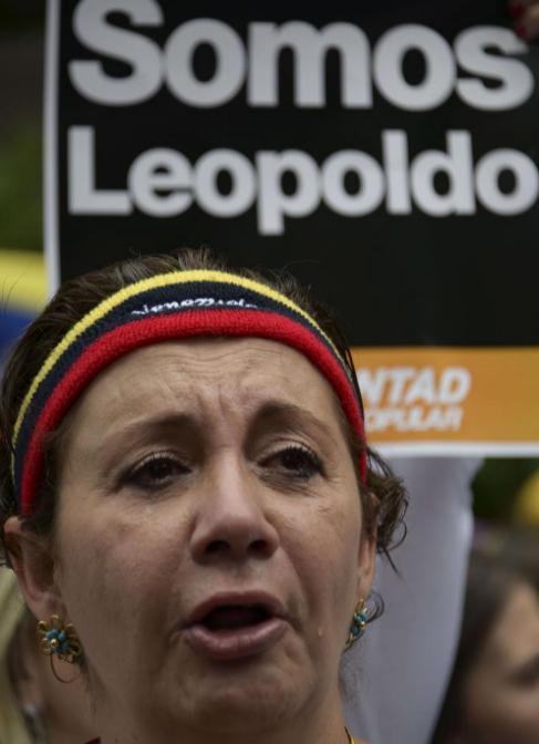 Una simpatizante del opositor venezolano Leopoldo López, en Caracas.