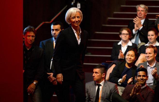 La directora gerente del FMI, Christine Lagarde, durante su...