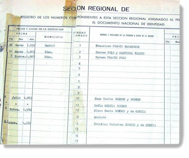 El registro de los primeros carnés de identidad en los que aparece el...