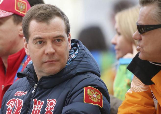 El primer ministro ruso, Dimitri Medvedev, durante los Juegos...