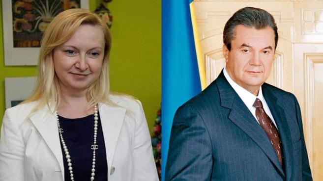 Liubov Polezhay (i) y el caído presidente Víktor Yanukovich (d)...