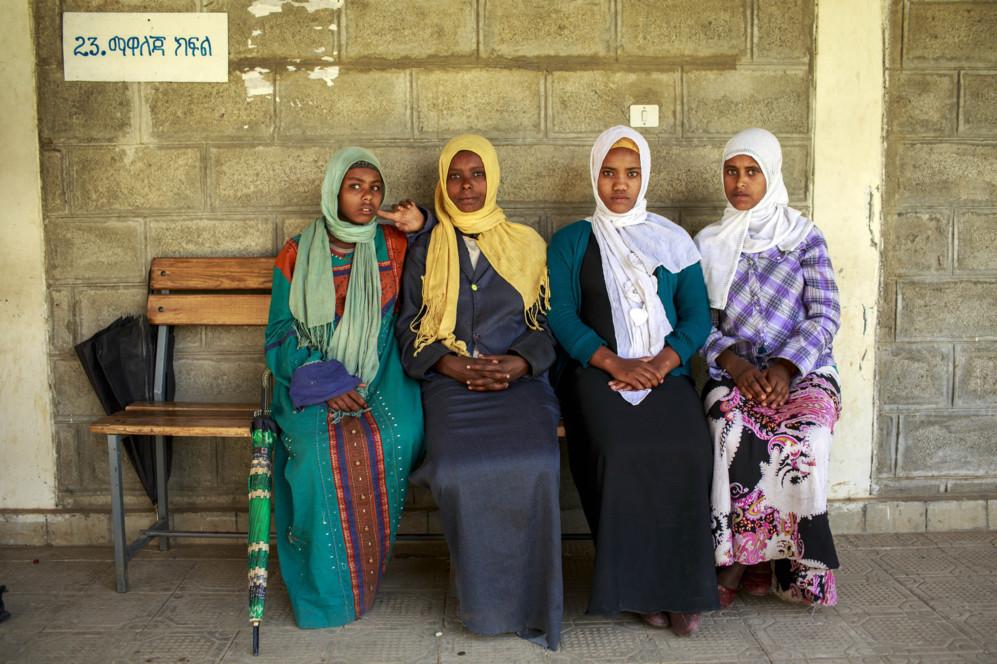Jóvenes embarazadas en una clínica de Kellala, en la región de...