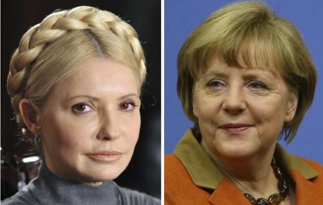 La ex primera ministra ucraniana, Yulia Timoshenko, y la canciller...